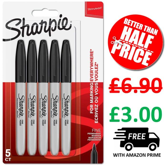 CHEAP! Sharpie Permanent Markers | Fine Point | Black | 5 Count