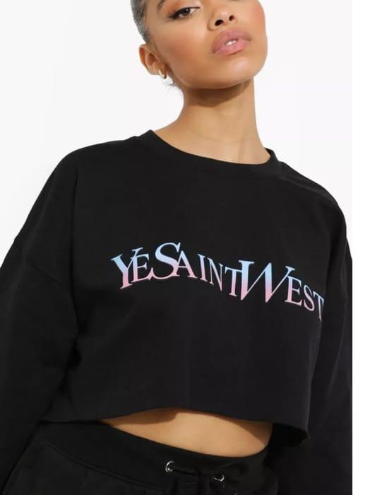 Boohoo Ye Saint West Ombre Cropped Sweatshirt