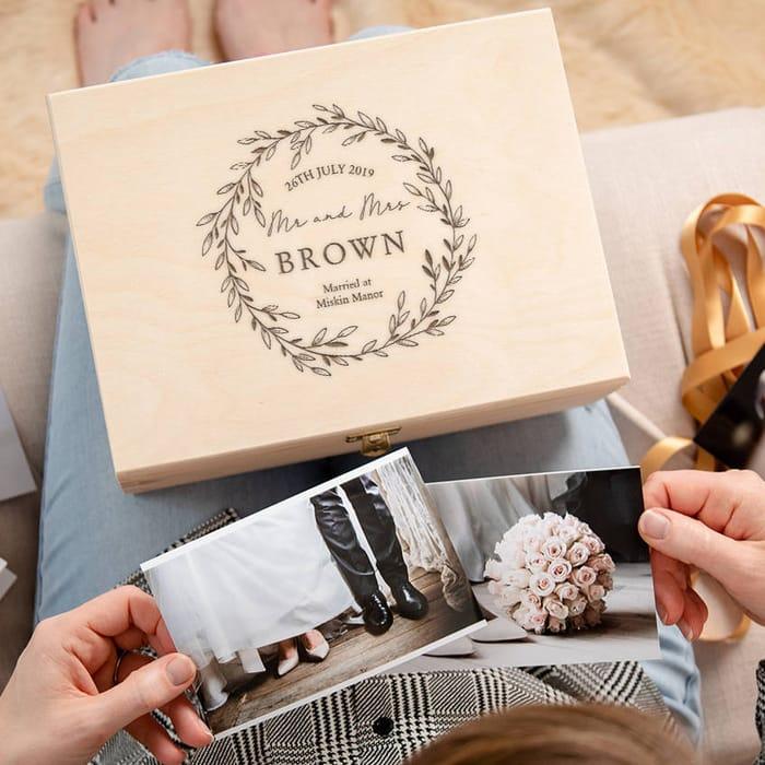 Personalised Wooden Wedding Keepsake Box for Couples