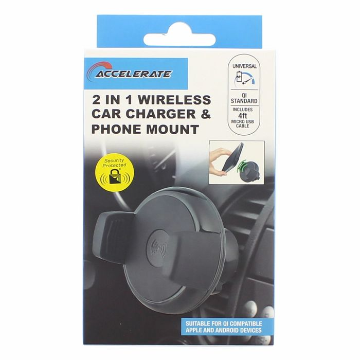 Accelerate 2in1 Wireless Car Phone Charger & Mount