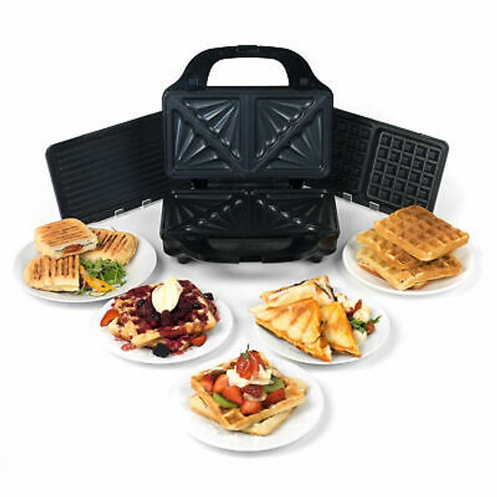 Salter Deep Fill 3-in-1 Snack Maker with Interchangeable Plates, 900 W