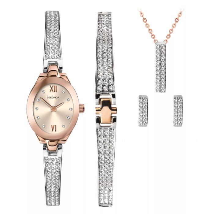 Sekonda Crystal Rose Ladies' Watch & Jewellery Gift Set £51.99 with Code
