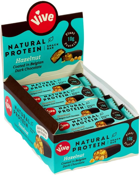 Vive Natural Protein Snack Bars (Hazelnut) with Belgian Chocolate - 12 Pack