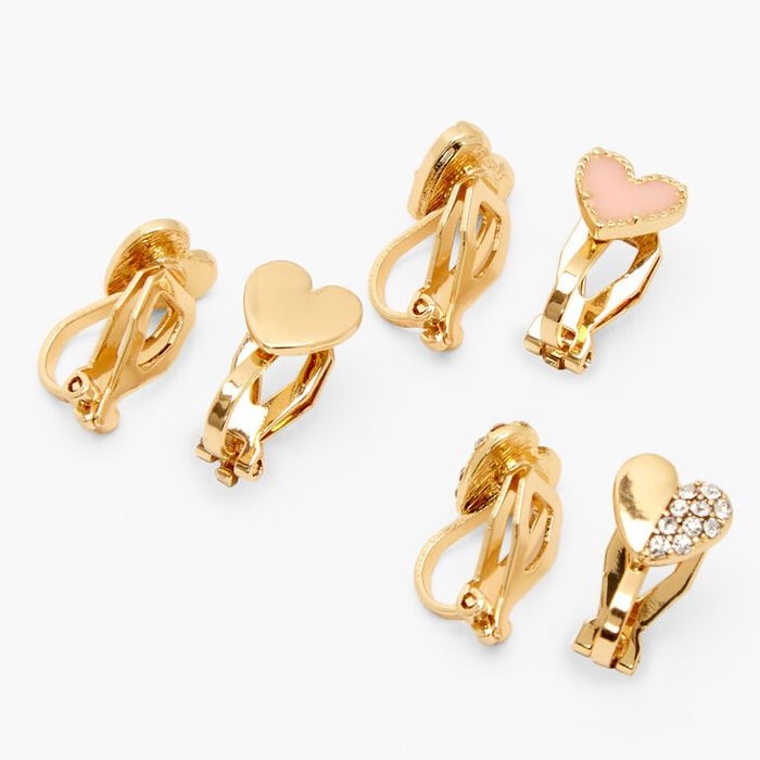 Gold Mixed Heart Clip on Stud Earrings - Pink, 3 Pack