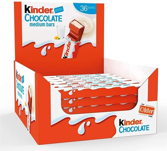 Kinder Chocolate Medium Bar - Box of 36 Bars