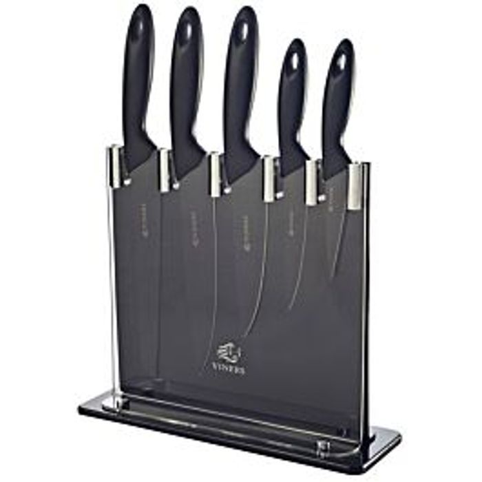 *HALF PRICE* Viners Silhouette Six-Piece Knife Block Set - Black