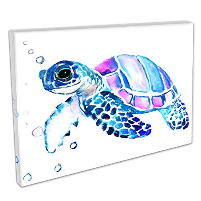 Colourful Turtle Decorative Canvas Wall Art Picture with £10 off Coupon