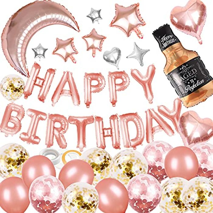Lunriwis Rose Gold Decorations Birthday Party Supplies Set - Only £3.99!