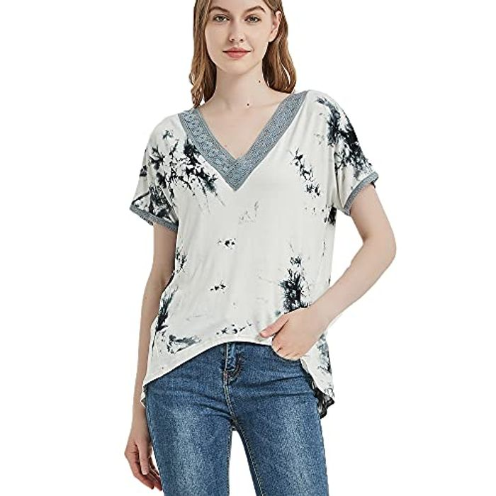 DEAL STACK - S.CHARMA Women Casual Tie Dye Short Sleeve T Shirt Tops + 5% Coupon