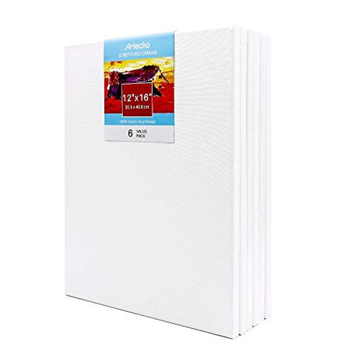 Stretched Canvas, White Blank 6 Pack