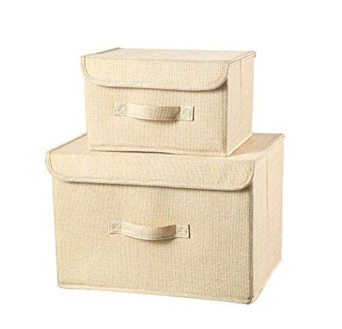 2 Pack Foldable Storage Boxes with Lids
