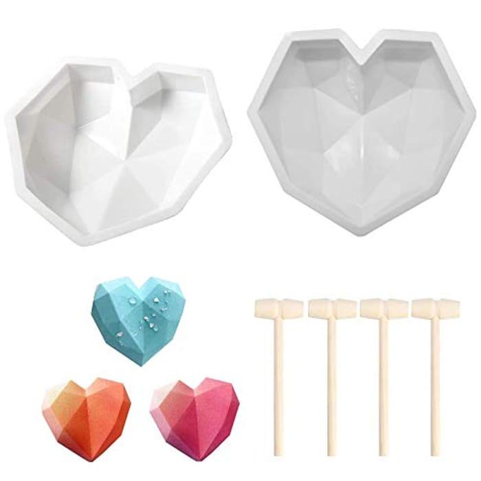 2 Pcs Diamond Heart Cake Moulds + 4 Baking Hammers