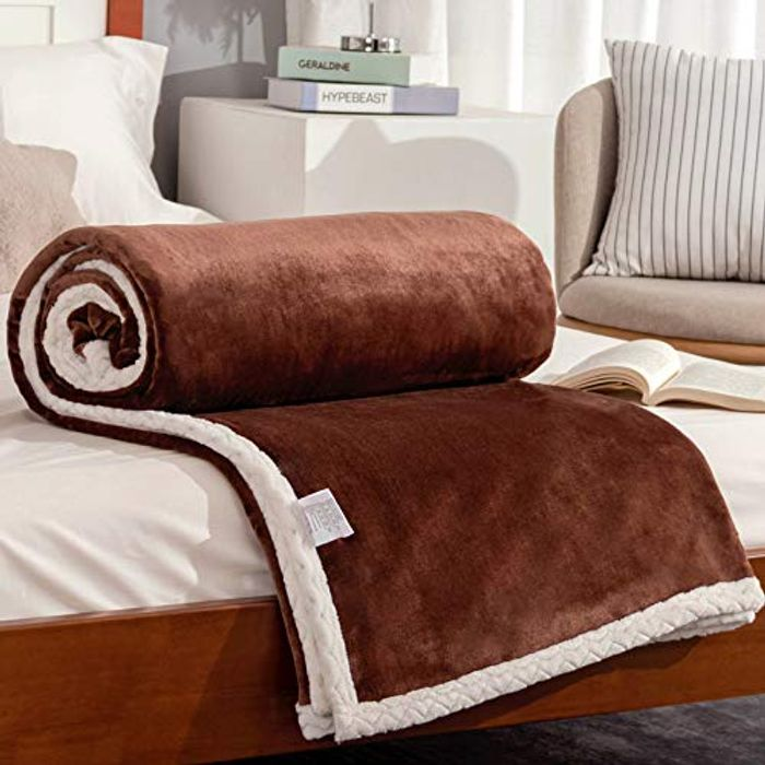 Double Flannel Layer Blanket Fleece Bedspread - Only £9.63!