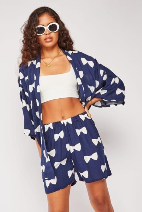 Bow Print Open Kimono and Shorts Set