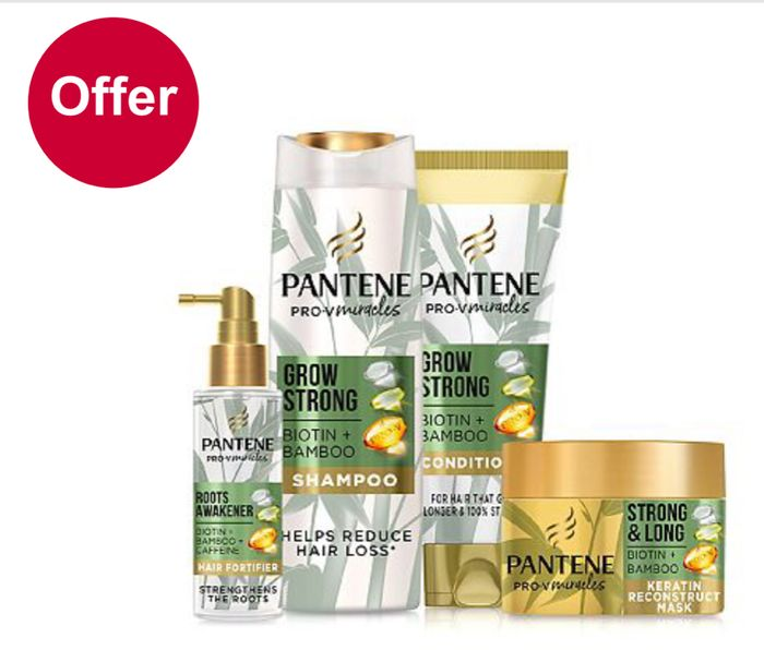 1/2 Price on Selected Pantene Haircare Price from £2.49