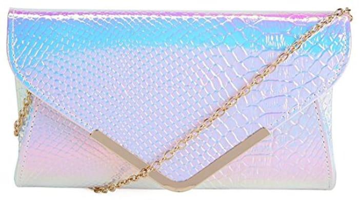 Kukubird Holographic Faux Snakeskin Envelope Clutch Bag - Only £4.20!