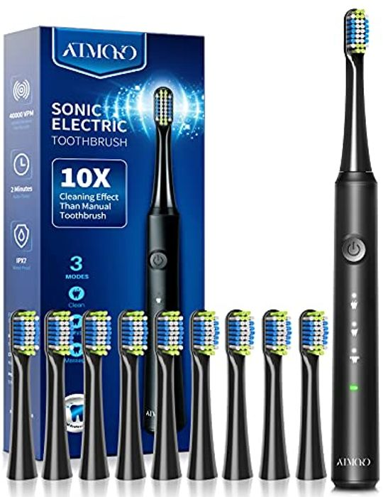 LIGHTNING DEAL - ATMOKO Sonic Electric Toothbrush with 10 Brush Heads