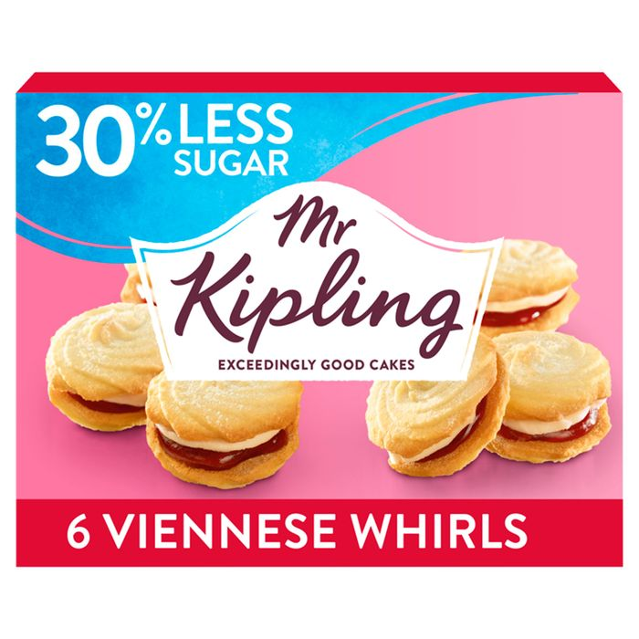 Mr Kipling Reduced Sugar Viennese Whirls 6 Pack *30% Less Sugar*