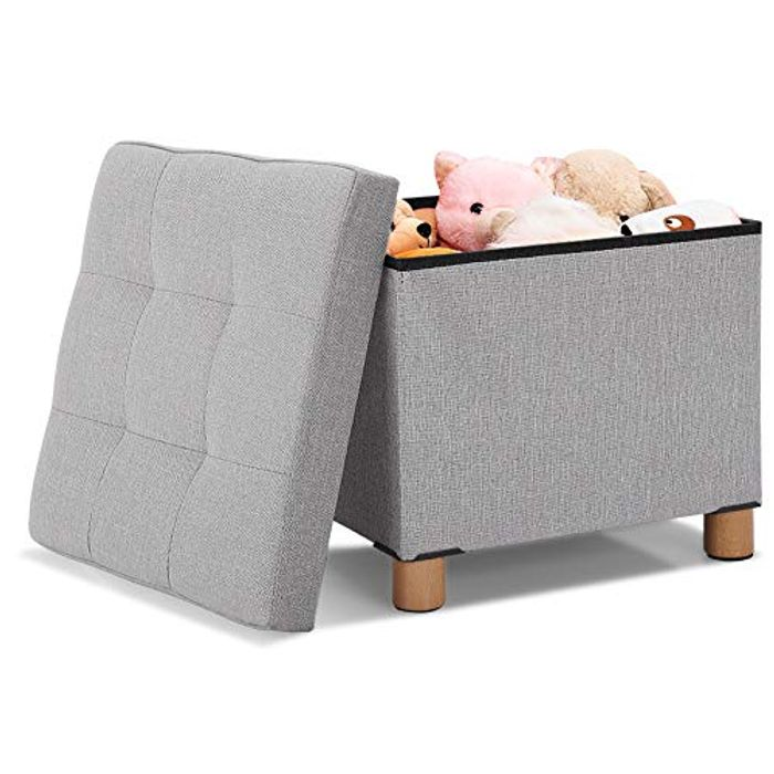 Pouffe Footstool with Storage with Wooden Feet - Only £10.63!