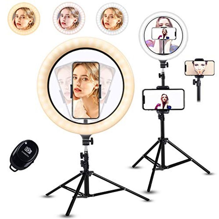 10.1-Inch Selfie Ring Light with Tripod Stand Phone Holders with £18 off Coupon