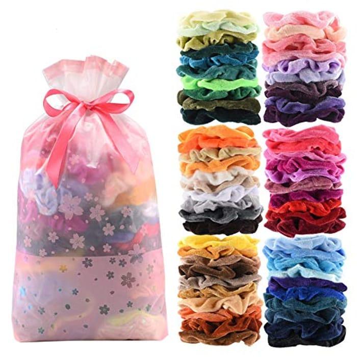 60 Pcs Premium Velvet Hair Scrunchies Hair Bands - Only £5.99!