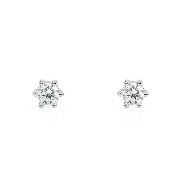 Hera Premium Sterling Silver 4mm CZ Six Claw Stud Earrings