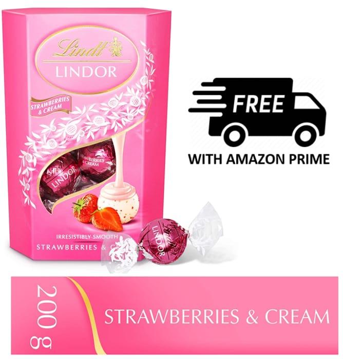 Lindt Lindor Strawberries and Cream Chocolate Truffles Box - 16 Balls, 200 G