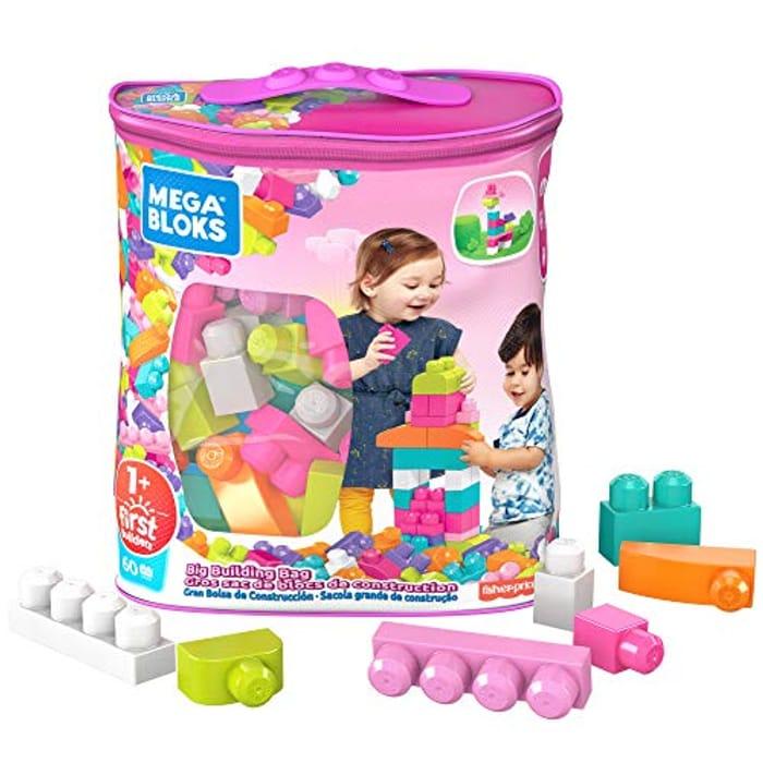 Mega Bloks DCH54 Big Building Bag, Pink, 60 Pieces - Only £7.98!