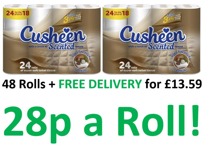 MEGA DEAL! 48 Cusheen Quilted 3 Ply Shea Butter Toilet Rolls + FREE DELIVERY