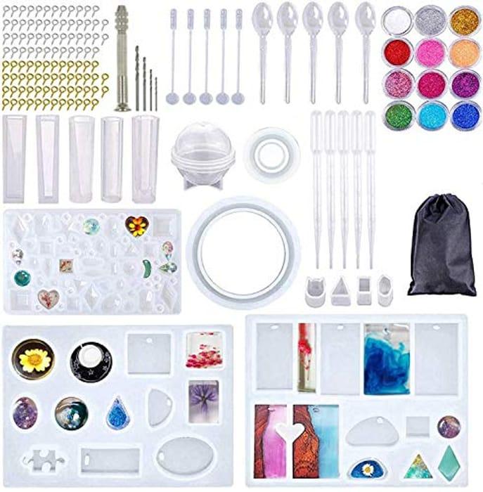 Krieitiv 137pcs Epoxy Resin DIY Craft Jewellery Mould Kit - Only £7.49!