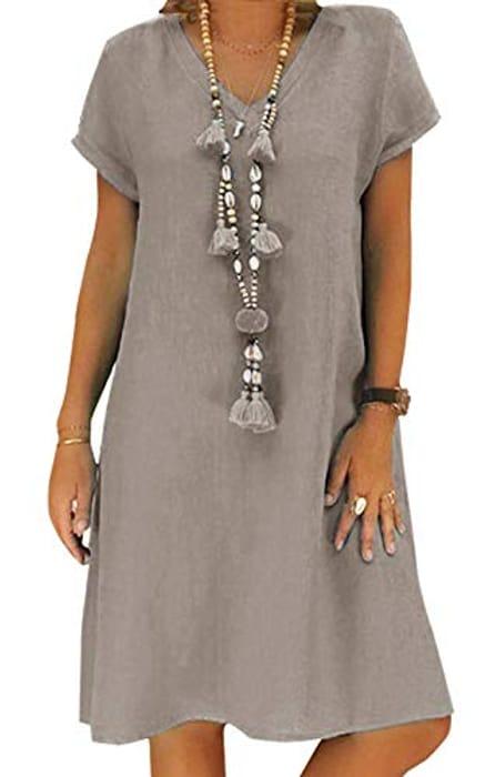 Cheap Women's Summer Casual Linen v Neck Short Sleeve Midi Dress - Only £3.80!