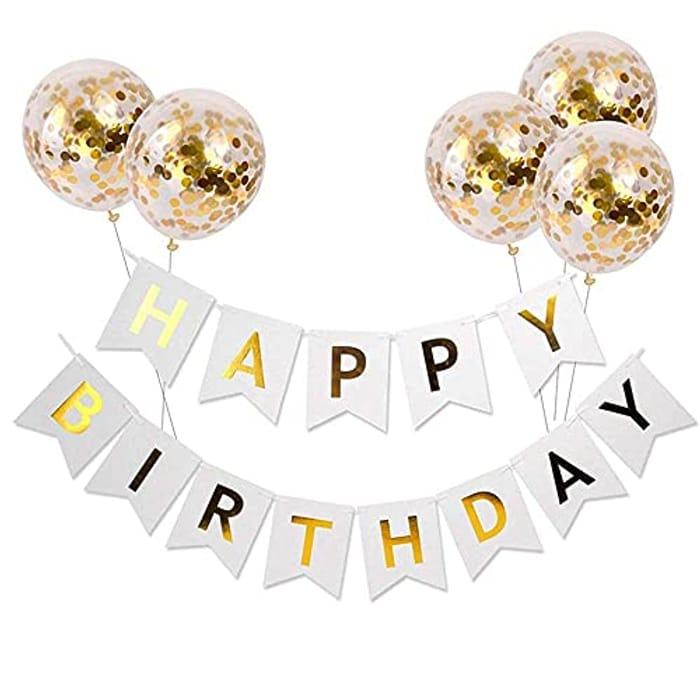 Happy Birthday Banner Birthday Bunting with 5 Gold Confetti Latex Balloons