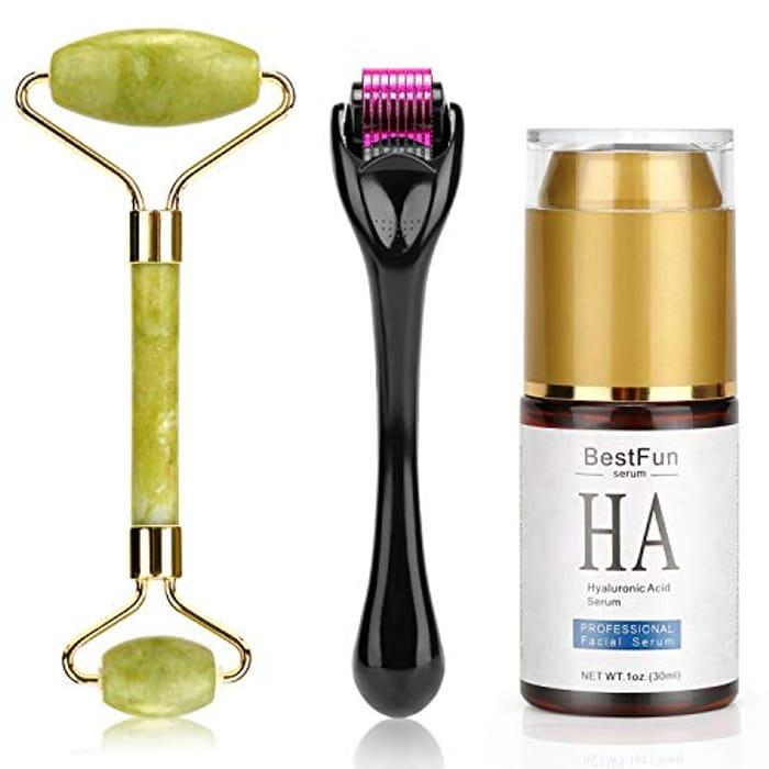Jade Roller & Professional Face Hyaluronic Acid Serum Kit