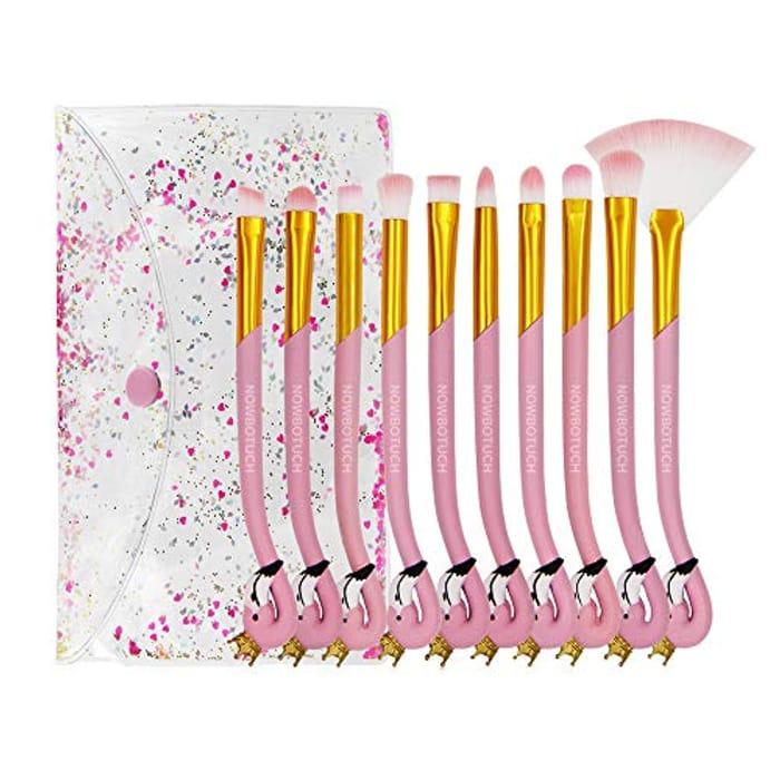 10PCS Pink Flamingo Makeup Brushes + Bag