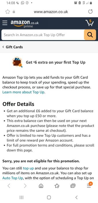 Get £6 Gift Card When You First Top up at Least £50 Gift Card