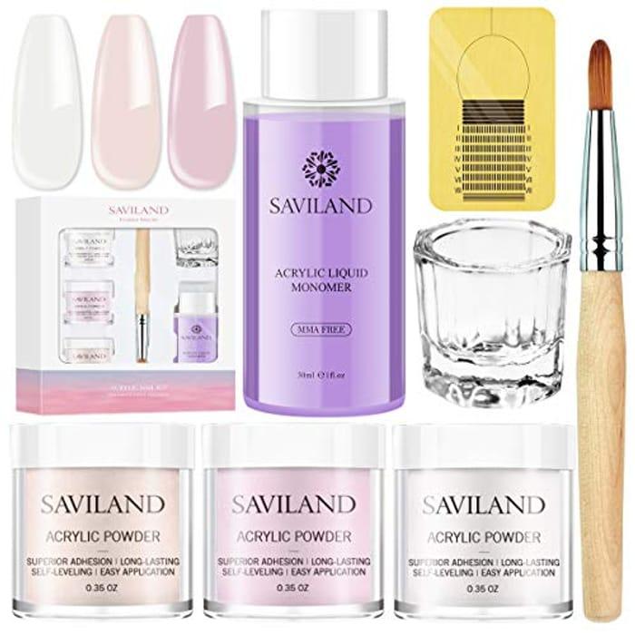 Saviland Acrylic Powder and Liquid Set - Acrylic Nail Kit with 3 Colours Pink