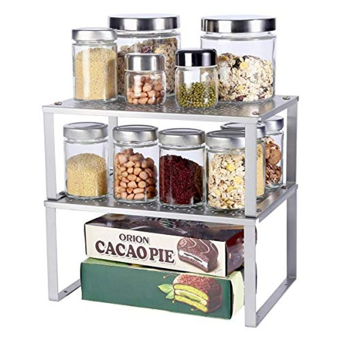 DEAL STACK - Stackable Set of 2 Metal Kitchen Counter Spice Rack + 20% Coupon