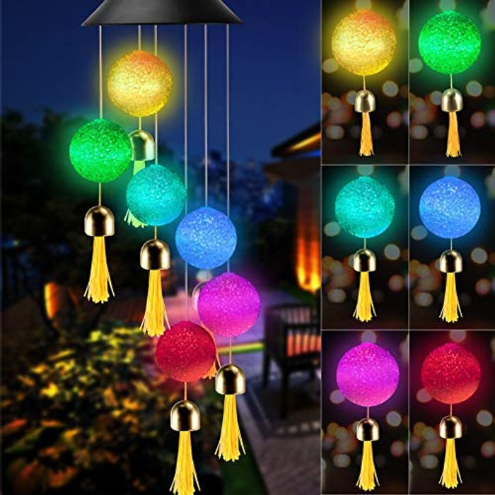 Solar Wind Chimes Light with Bells, Colorful Changing Crystal Ball - Only £6.99!