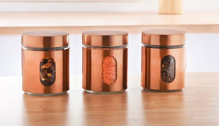 Glass Storage Canisters 3pk - Copper/White/Black/Chrome