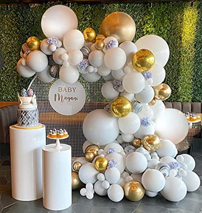 Balloons Garland Arch Kit, White Gold Balloon Arch Kit - Only £4.99!