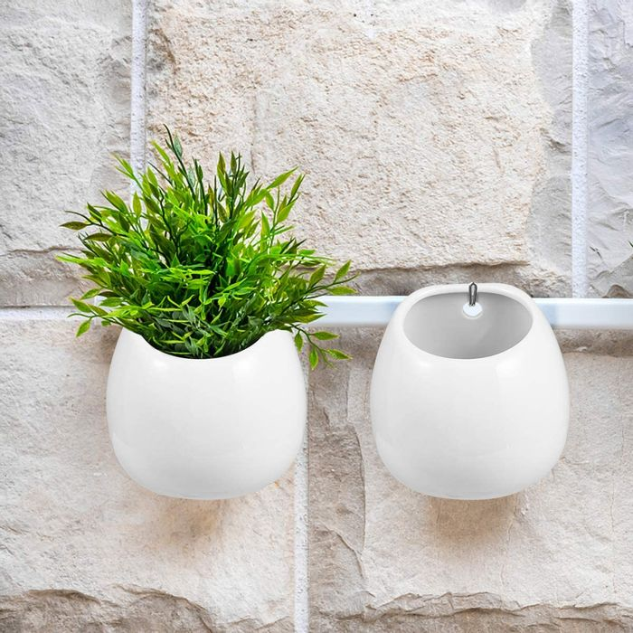 Deal Stack - 2pcs Ceramic Wall Plant Pots Hanging Planter Plant Pots