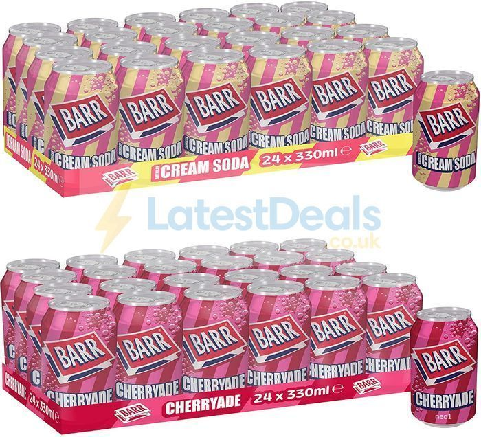 Barr American Cream Soda or Cherryade Fizzy Drink Cans, 330ml, (Pack of 24)