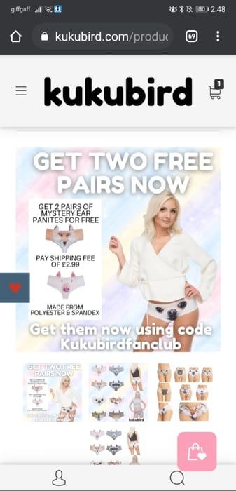 Free Two-Set Novelty Ear Panties