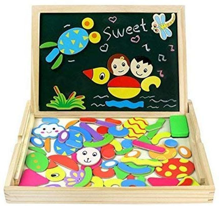 Wooden Magnetic Drawing Board Game Jigsaw Puzzles Toys for Kids - Only £4.88!