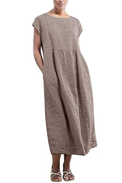 N\C Womens Casual Beach Maxi Solid Color Loose Summer Dresses - Only £5.10!