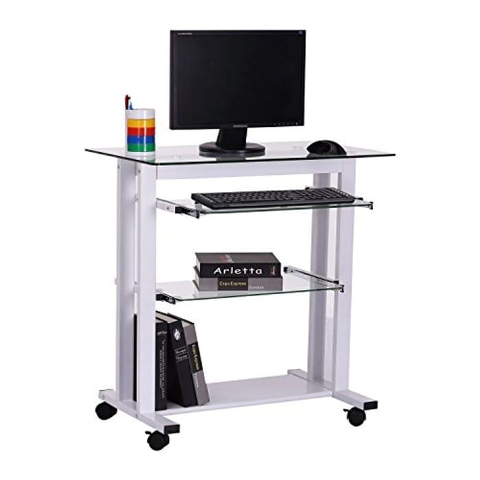 HOMCOM Computer Desk Glass Top