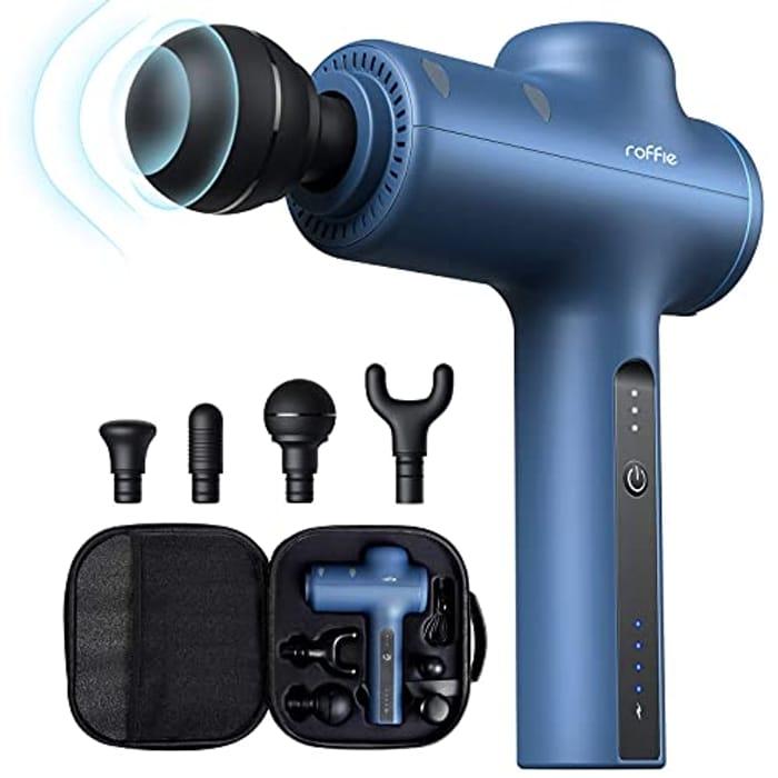 Roffie Deep Tissue Muscle Massage Gun Long Battery Life, Blue - Only £34.99!