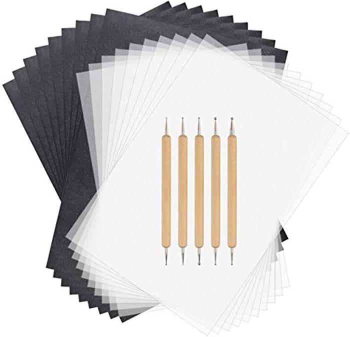 Sainwora 150 Sheets Carbon Paper Set + 5pcs Embossing Styluses Tools