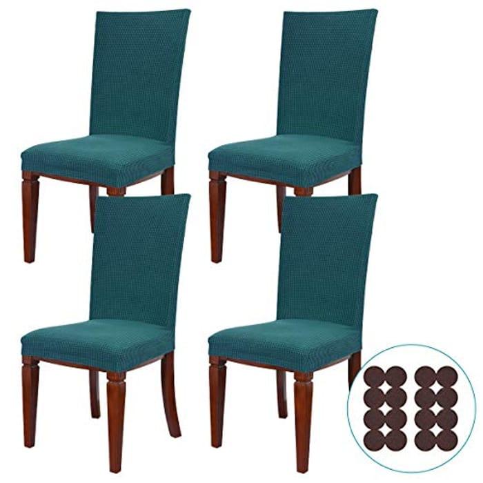 Ezprotekt 4pcs Washable Dining Chair Covers + Free 16pcs Furniture Sliders