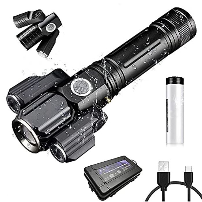 Rechargeable Waterproof Flashlight, High Lumen Zoomable with 4 Lighting Modes